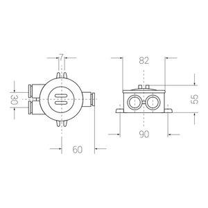 Junction box - 4-pol plint - 3 outlets (-O=)