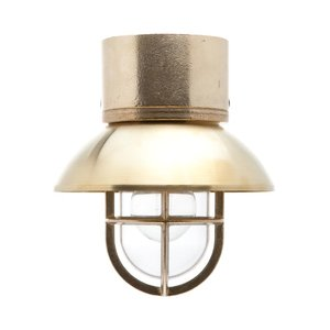 Kaj loft brass E27 removable shade ceiling mount clear glass