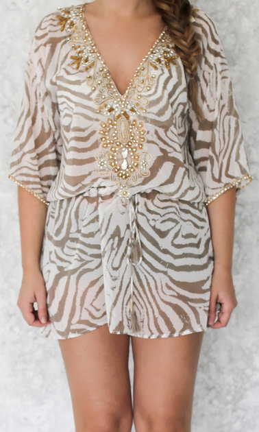 Nori dress Zebra beige