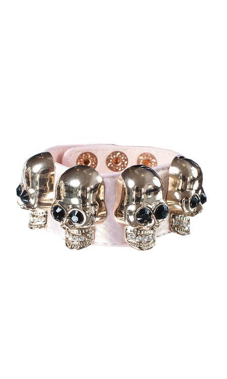 Big skull bracelet pink