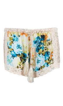 Shorts flower creme