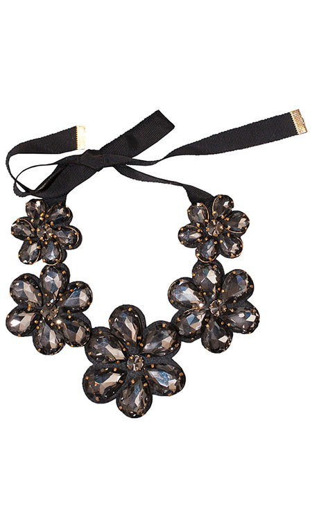 Sparkling Flower Necklace Black