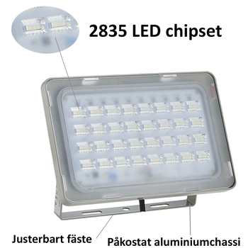 230 Volt kraftfull utomhus LED strålkastare frostad frontglas valbar 10W upp till 250W. Valbar med och utan rörelsesensor klass A++