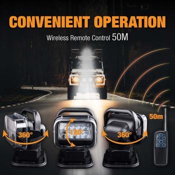 50W LED strålkastare motordrivet sökarljus för 12 och 24V båt, bil, arbetsfordon