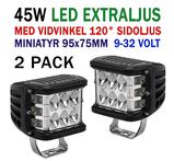 2 pack 45W CREE miniatyr LED extraljus  spot med 120° vidvinkel 9-32V