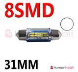 31mm spollampa kapslad med 8st 3014 SMD - Vit