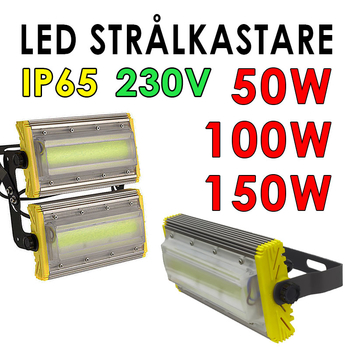 230 Volt kraftfull LED strålkastare valbar 50W, 100W, 150W för utomhusbruk IP65 EX