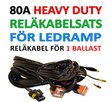 Reläkabelsats 80A Heavy Duty för LED ramp, extraljus eller xenon ballast (drivdon)