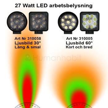 Utförsäljning av 2pack LED arbetsbelysning valbar 18, 27 och 48W för 12-24 Volt