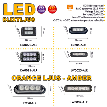 LED blixtljus 106x35mm ECE R10  R65 L2285-ALR