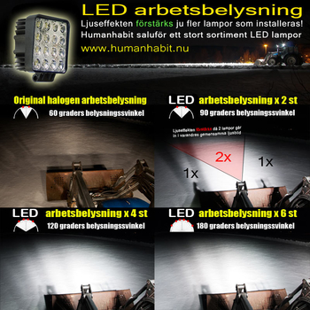 6 pack 15W mini LED arbetsbelysning 60° 12-24V