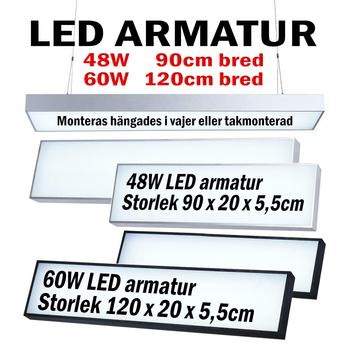Pendlad eller takmonterad 240V LED armatur valbar 90/120cm för kontor / lager