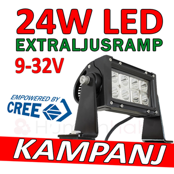 24W CREE LED extraljusramp 9-32V