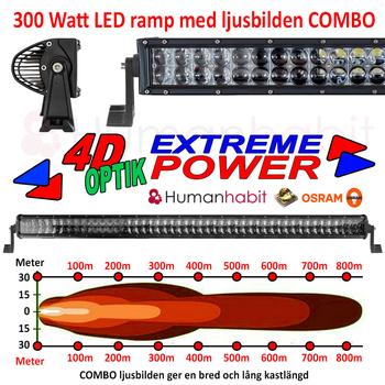 72-300W  LED ljusramp böjd curved Cree 4D optik EMC certifierad och E-märkt