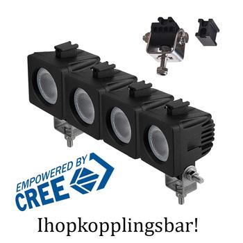 2 pack 10W CREE mini LED,  30° spot, ihopkopplingsbar 9-32V