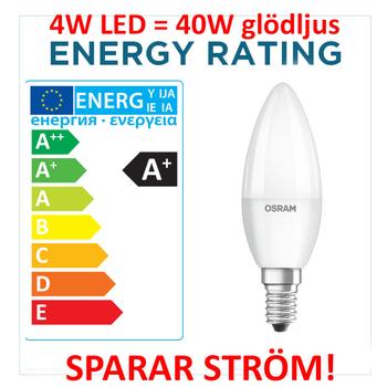 4 Watt Osram Ledstar E14 LED lampa 2700 Kelvin 220V 250 lumen motsvarar 25W