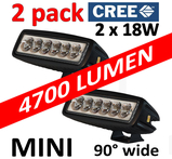 2 pack 18W LED CREE XB-D miniatyr 90° 12-24V totalt 4700 lumen