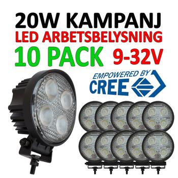 10 pack 20W LED arbetsbelysning 60° CREE ECE R10 12-24V - L0074