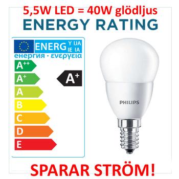 5,5 Watt Philips CorePro E14 LED Klot 2700 Kelvin 220V 470 lumen (40W)