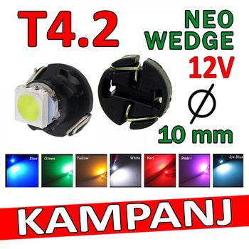 T4.2 Neo Wedge styling med 1st 1210 SMD med valbara färger - 12 Volt
