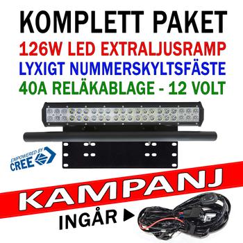 Komplett paket 126W CREE LED extraljusramp combo med fäste och kablage