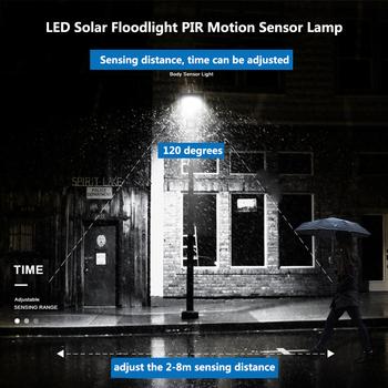 50W LED strålkastare med rörelsesensor och inbyggt batteri som laddas med solcellspanel