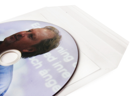 CD with print in plastic sleeve with adhesive back