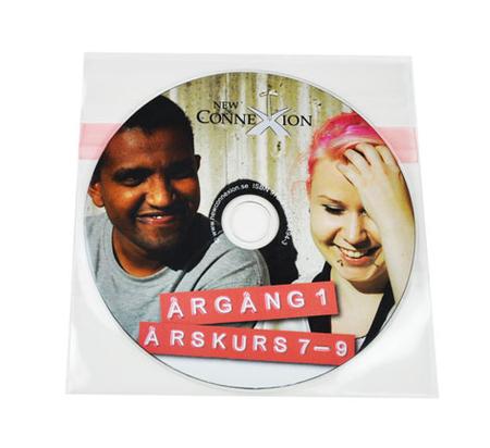 DVD med trykk i plastlomme med selvklebende bakside