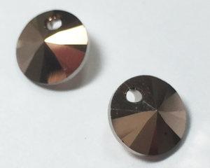 Swarovski Xilion 6428 Rivoli Pendant, Crystal Rose Gold 2x. 8 mm. 2 stycken.