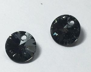 Swarovski Xilion 6428 Rivoli Pendant, Crystal Silver Night. 8 mm. 2 stycken.