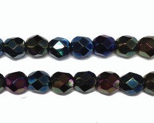 Fasetterad pärla i olika metalic färger, 6 mm. En sträng.