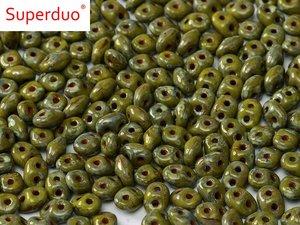Superduo, Opaque Green Picasso, 10 gram
