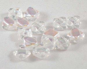 Silky beads, tjeckisk två hålig pärla, Crystal AB. 20-pack.