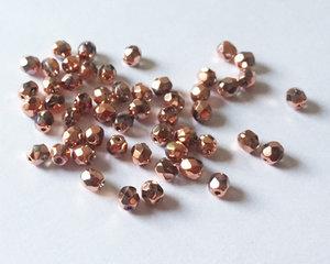 Fasetterade firepolish, Crystal Full Capri Gold, 4 mm. 50 st