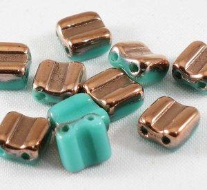 Bone beads, tjeckisk två hålig pärla, Jade Capri Gold. 20-pack.