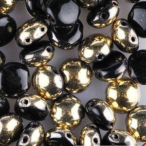 Candy™, 2-hålig cabochon, 8 mm. Jet Amber, 23980/26441. 20 st.