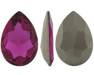 Pear Flat Fancy Stone, 30*20 mm. Fuchsia.