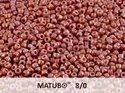 Matubo 8/0, Chalk White Ruby Luster. 10 gram.