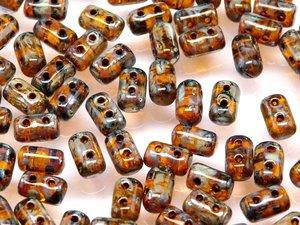 Rulla beads, tjeckisk cylinderformad två hålig pärla, Amber Picasso. 10 gram