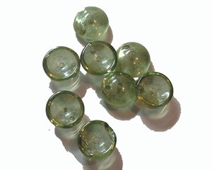 Piggy bead crystal green luster. 20-pack