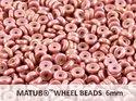 Wheel Bead, Chalk Red Luster, 6 mm. 10 gram.