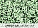Wheel Bead, Chalk Green Luster, 6 mm. 10 gram.