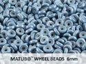 Wheel Bead, Chalk Blue Luster, 6 mm. 10 gram.