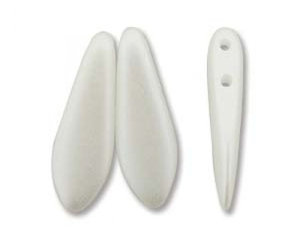 2-hålig dagger, 5*16 mm. Pearl Coat White, 25 st.
