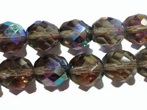 Fasetterad tjeckisk fire polish pärla i Smoke AB, 10 mm. En sträng.