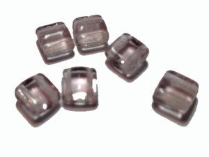 Tjeckisk 2-hålig tilepärla i ametistfärg, 6 mm. 20-pack.