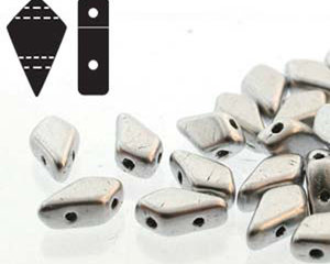 Kite bead, två-hålig tjeckisk pärla, Bronze Aluminium, 9*5 mm. 10 gram