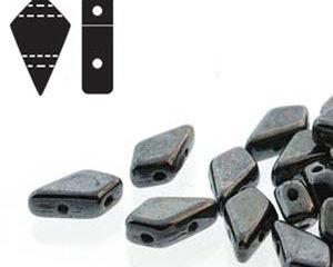 Kite bead, två-hålig tjeckisk pärla, Jet Gunmetal, 9*5 mm. 10 gram