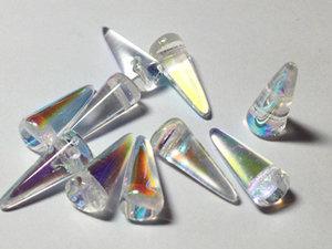 Spike pärlor i Crystal AB, 5*13 mm. 10-pack.