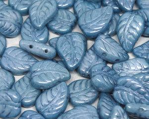 LeafDuo, 7*10 mm. Chalk White Baby Blue Luster, 03000/14464. 20 stycken.